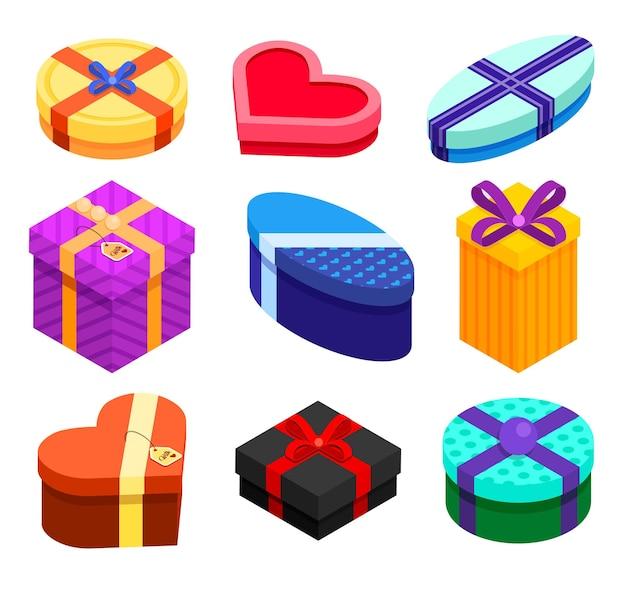 Satz isometrische geschenkboxen lokalisiert auf weißem hintergrund