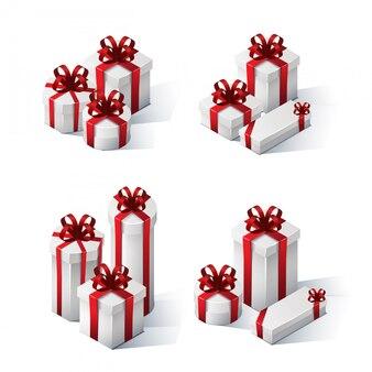 Satz isometrische geschenkboxen mit schleifen und bändern
