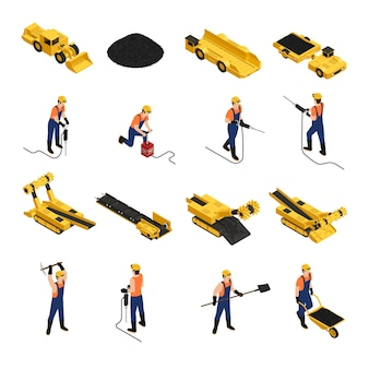 Satz isometrische ikonenbergleute der kohlenförderung mit arbeitsgeräten und bergbaufahrzeugen lokalisiert