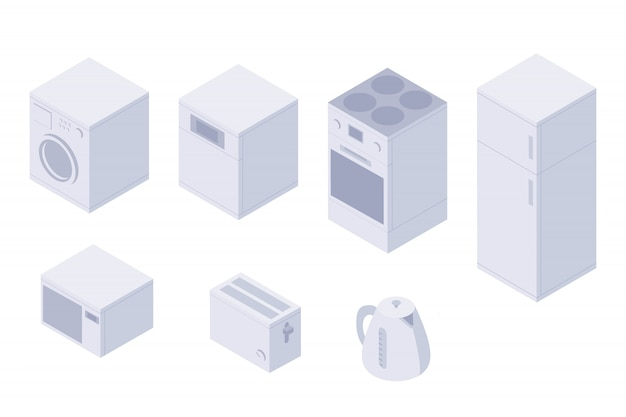 Satz isometrische küchenhausdienstprogramme, küchengeschirr. eine waschmaschine, geschirrspüler, backofen, herd, kühlschrank, mikrowelle, toaster und wasserkocher. haushaltsutensilien isoliert