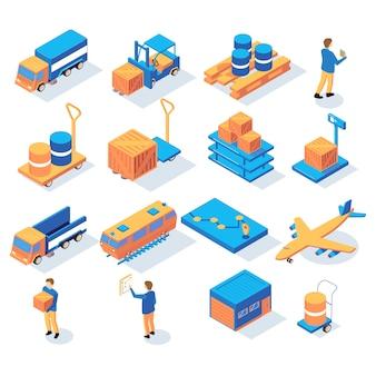 Satz isometrische logistiklieferungsikonen mit personen und bildern von transportfahrzeugen und lagerpaketvektorillustration