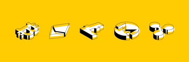 Satz isometrische symbole von kryptowährungen auf gelbem grund