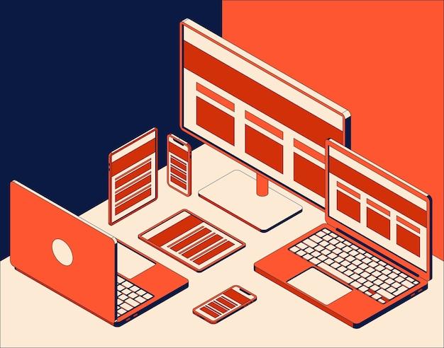 Satz isometrischer computermonitor, laptops, tablets und handys.