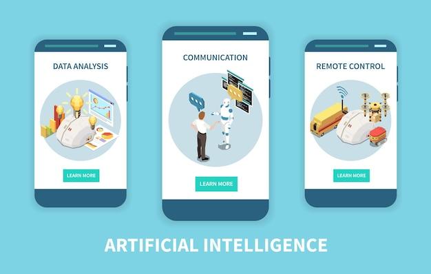 Satz isometrischer vertikaler banner mit künstlicher intelligenz mit datenanalyse und ferngesteuerten bildern mit tasten
