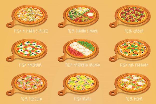 Satz italienische pizza auf schneidebrett. 9 artikel. verschiedene sorten
