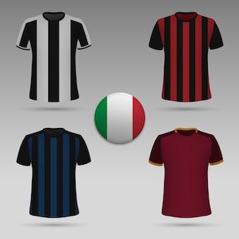 Satz italienisches fußballtrikot, t-shirt-schablone. fußball-trikot