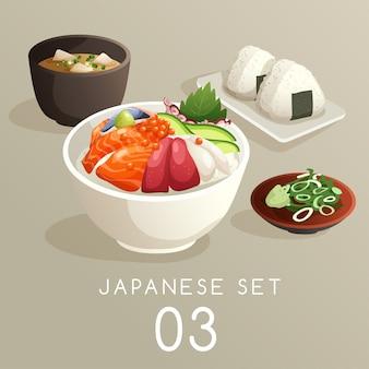 Satz japanische lebensmittelillustration