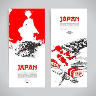 Satz japanische sushi-banner. hand gezeichnete skizzenillustrationen