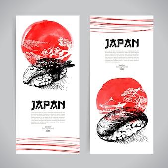 Satz japanische sushi-banner. skizzenillustrationen für die speisekarte