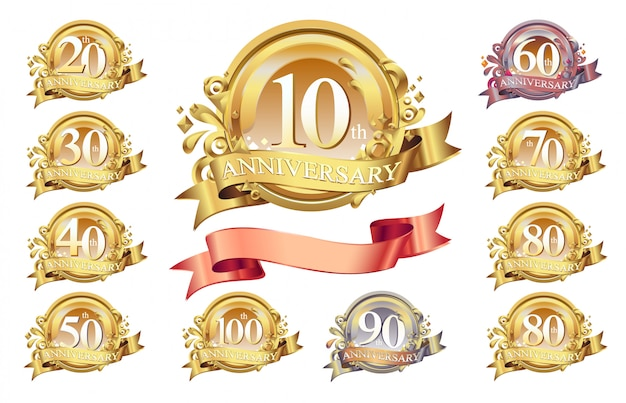 Satz jubiläumslogo und goldband. goldene jubiläumsfeier emblem design