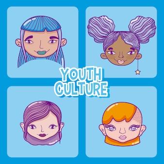 Satz jugendkulturkarikaturen