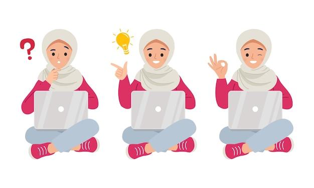 Satz junge frau, die mit laptop sitzt, der an ein problem denkt und okay geste und idee zeigt.