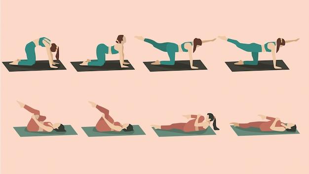 Satz junge frau, die yoga-posen in grüner und roter sportkleidung durchführt