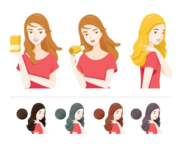 Satz junge frau mit haarfärbemitteln und verschiedenen haarfarben