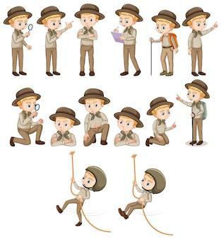 Satz junge im safari-outfit, das verschiedene aktivitäten durchführt