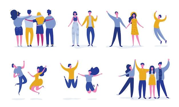 Satz junge leute, die auf weißem hintergrund springen. stilvolle moderne mit glücklichen männlichen und weiblichen charakteren, teenagern, studenten. party-, sport-, tanz- und freundschaftsteamkonzept