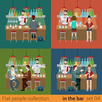 Satz junge männer frauen junge freundinnen in der bar theke und barmann cocktail drink vorbereitung. flat people lifestyle situation konzept. illustrationssammlung junger kreativer menschen.