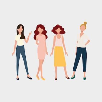 Satz junge modefrauen, stilvolle mädchen. flaches design. vektor-illustration.