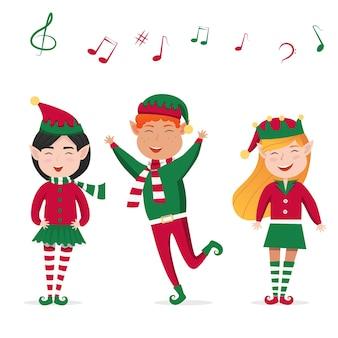 Satz jungen und mädchen weihnachten