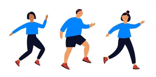 Satz junger laufender leute in sportbekleidung. illustration des gesunden lebensstils im flachen stil