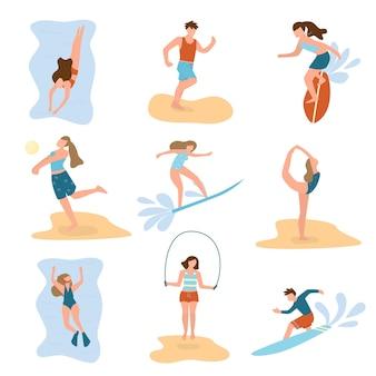 Satz junger leute bei verschiedenen strandaktivitäten sommersport, entspannungszeit
