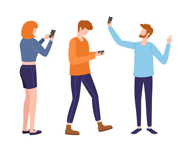Satz junger leute, die smartphones benutzen