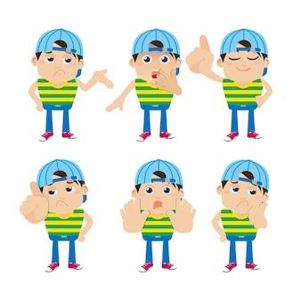Satz junger mannfiguren in verschiedenen posen