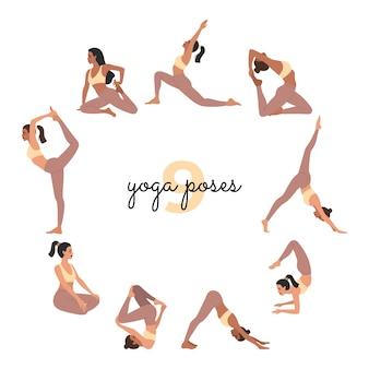 Satz junger sportmädchen, die yogaübungen machen