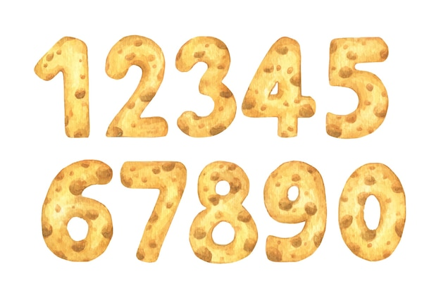 Satz käsennummern von eins bis null. aquarellillustration.