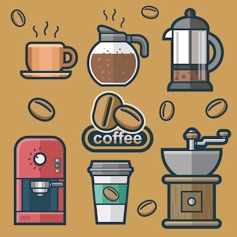 Satz kaffee in der flachen art