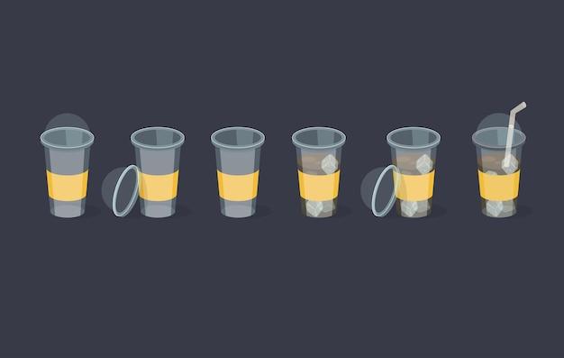 Satz kaffee plastikbecher in verschiedenen positionen
