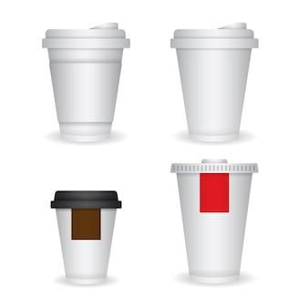 Satz kaffee und getränkepapierschalenschablone für das einbrennen