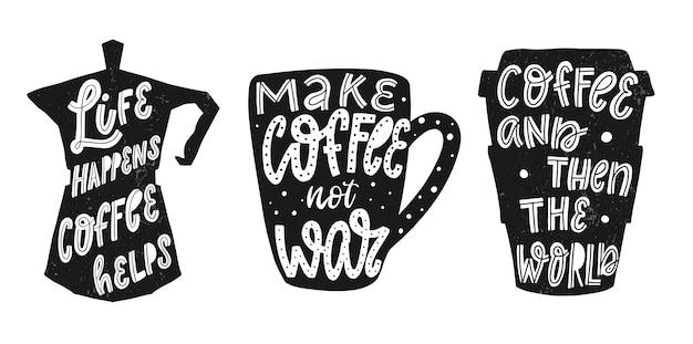 Satz kaffee zitate für drucke und poster