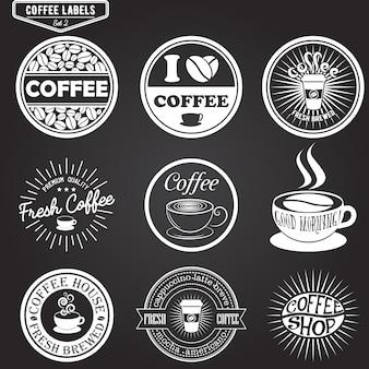 Satz kaffeeaufkleber, gestaltungselemente