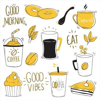 Satz kaffeedesign mit skizzenstil