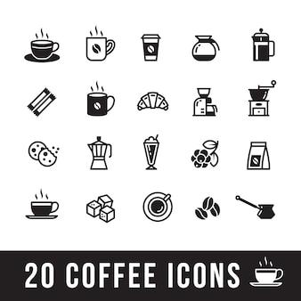 Satz kaffeeikonen für café