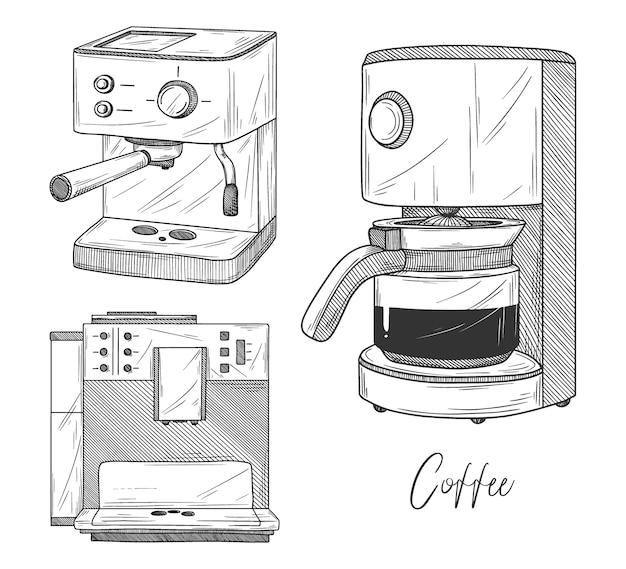 Satz kaffeemaschine auf weißem hintergrund. illustration