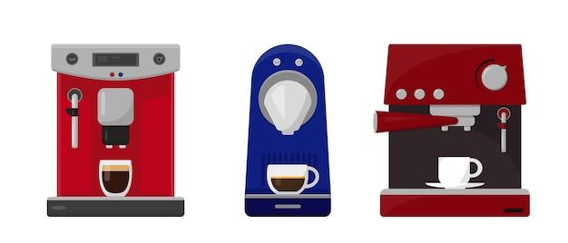 Satz kaffeemaschinen und kappen des kaffees lokalisiert auf weißem hintergrund.