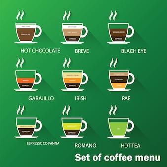 Satz kaffeemenü mit tassen kaffee trinkt