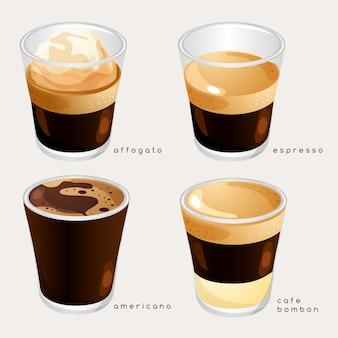 Satz kaffeesorten: illustration