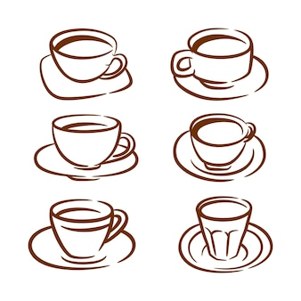 Satz kaffeesymbole