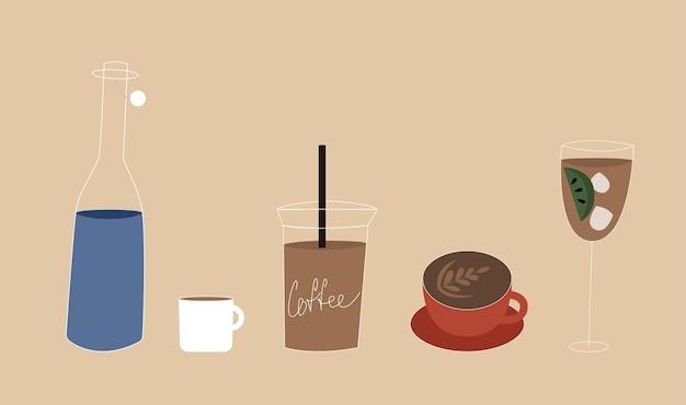 Satz kaffeetasse. elemente des coffeeshops.