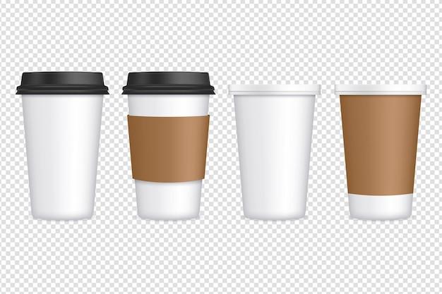Satz kaffeetassen aus papier auf transparent