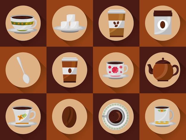 Satz kaffeetassen wegwerfbares keramisches glas und samenzucker