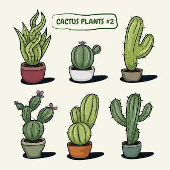 Satz kaktus mit töpfen