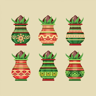 Satz kalash india ceramic pot illustration