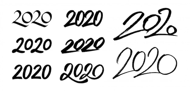 Satz kalligraphienummern des neuen jahres 2020