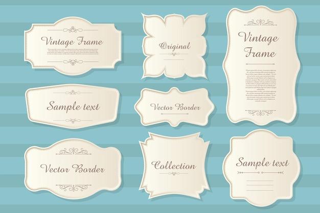Satz kalligraphischer vintage etiketten und rahmen designelemente