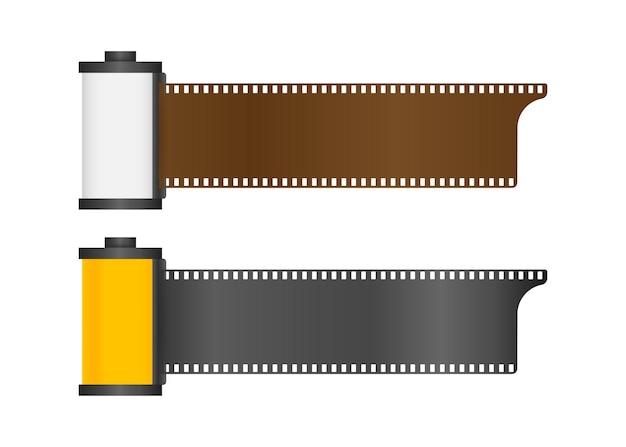 Satz kamerafilmrolle lokalisiert auf weißem hintergrund. vektorgrafik auf lager