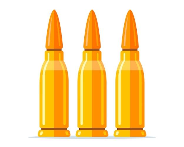 Satz kampfpatronen für ein gewehr auf weißem hintergrund. flache vektorillustration